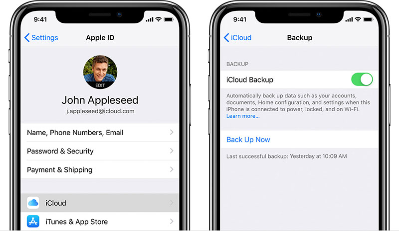 backup iPhone data with iCloud
