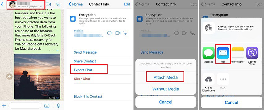 export WhatsApp Chat on iPhone by Email
