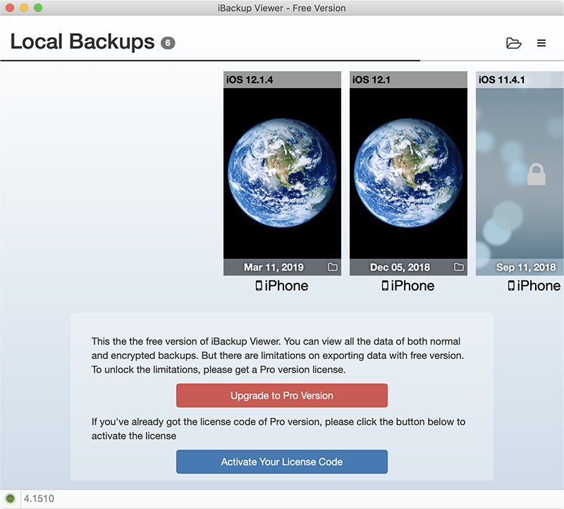 iBackup Viewer select backup file