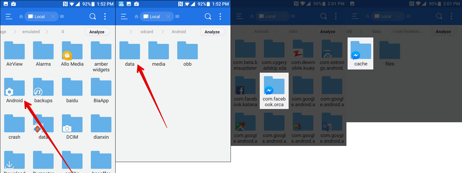 facebook backup files Android