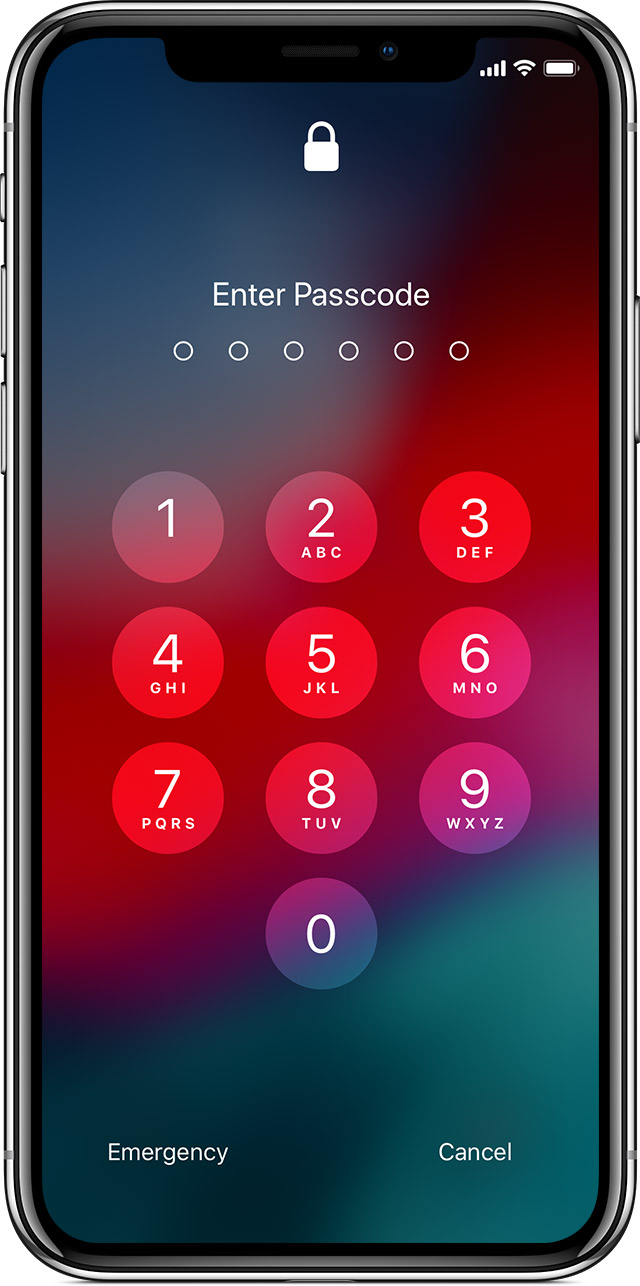 iPhone X with passcode lock