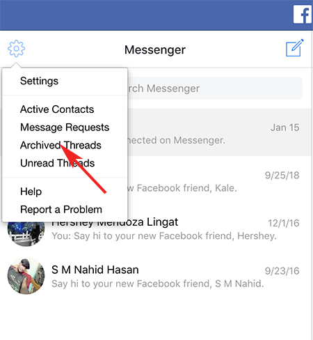 find archived messages on Facebook Messenger