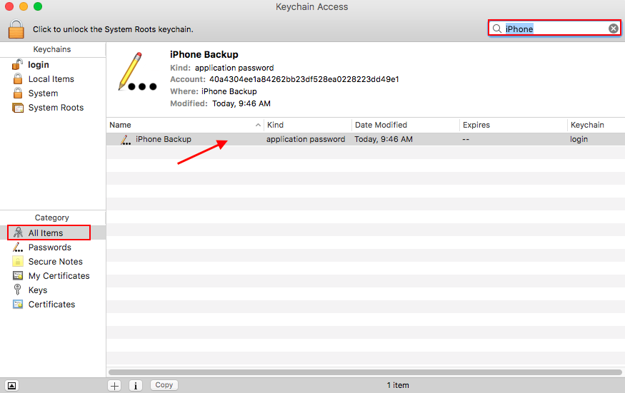 iTunes backup password recovery via Keychain