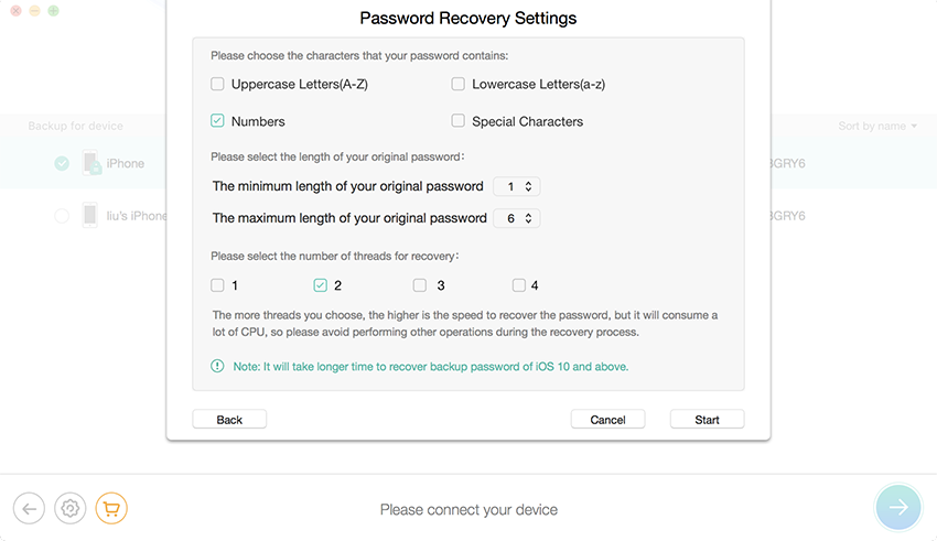 password recovery settings