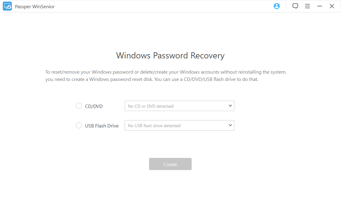 create Windows 10 password reset usb